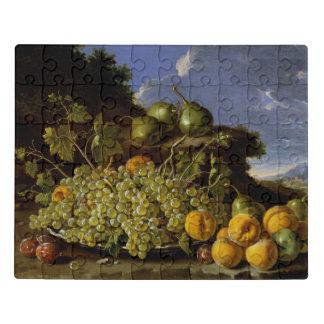 Stillleben mit Platte der Trauben, Pfirsiche, Puzzle