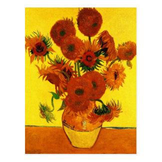 Stillleben-Vase mit fünfzehn Sonnenblumen - Van Postkarte