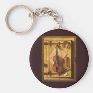 Stillleben-Violine und Musik durch Harnett Schlüsselanhänger