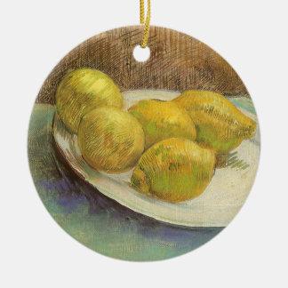 Stillleben-Zitronen auf einer Platte durch Vincent Rundes Keramik Ornament