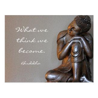 Stillstehende friedliche silberne Buddha-Wörter Postkarte