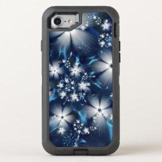 Stilvolle blaue Fraktal-Blumen OtterBox Defender iPhone 7 Hülle