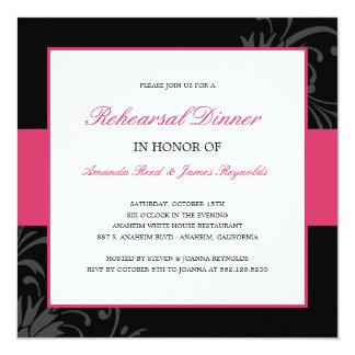 Stilvolle BlumenProben-Abendessen-Einladung (Rosa) Quadratische 13,3 Cm Einladungskarte