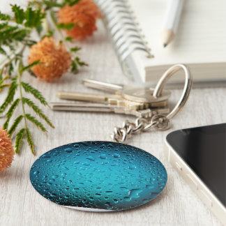 Stilvolle coole Tropfen des blauen Wassers Schlüsselanhänger
