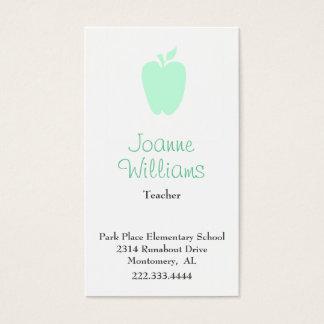Stilvolle grüne Apple-Lehrer-Visitenkarte Visitenkarte