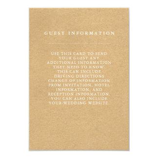 Stilvolle Land-Hochzeits-Gast-Informations-Karte 8,9 X 12,7 Cm Einladungskarte