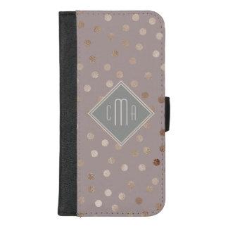 Stilvolle malvenfarbene Shimmery Punkte mit iPhone 8/7 Plus Geldbeutel-Hülle