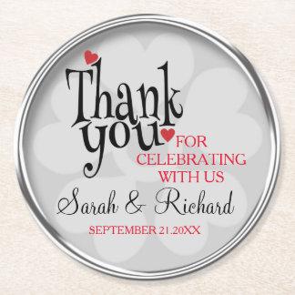 Stilvolle silbernes Grau-Hochzeit danken Ihnen Runder Pappuntersetzer