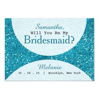 Stilvolle Türkis-Blau-Glitter-Brautjungfer Karte