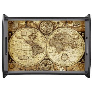 Stilvolle und elegante Vintage alte Weltkarte Tablett