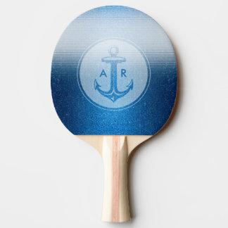 Stilvoller blauer Anker mit Initialen | Tischtennis Schläger