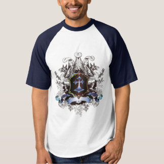 Stilvoller blauer Querentwurf T-shirt