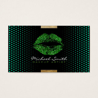 Stilvoller grüner LippenMaskenbildner-moderne Visitenkarte