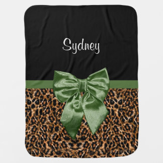 Stilvoller Leopard-Druck-eleganter grüner Bogen Babydecke