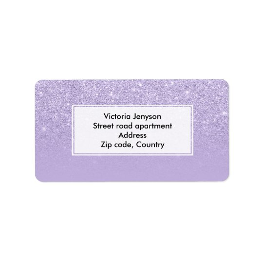 Stilvoller lila Lavendel-Glitter ombre Farbblock Adressaufkleber