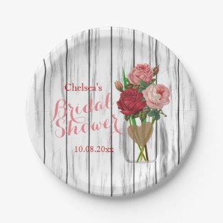Stilvoller Rosen-Maurer-Glas-Brautparty-Entwurf Pappteller