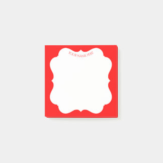 Stilvoller roter Feiertagsrahmen mit Ihrem Namen Post-it Klebezettel