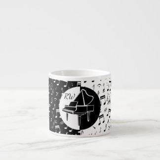Stilvoller Schwarzweiss-Klavier- und Musikentwurf Espressotasse