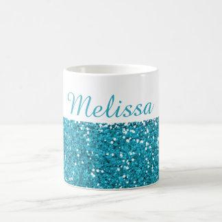 Stilvoller Türkis-Blau-Glitter mein Name Tasse