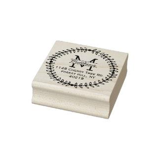 Stilvolles BlumenKranz-Gewohnheits-Monogramm Gummistempel