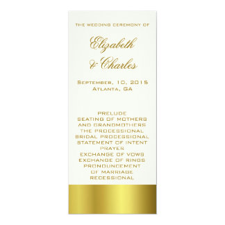 Stilvolles Gold-und Elfenbein-Hochzeits-Programm 10,2 X 23,5 Cm Einladungskarte