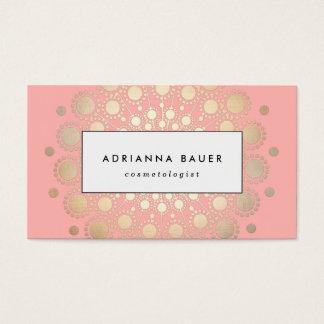 Stilvolles Imitat-Goldfolien-Kreis-Motiv-Rosa Visitenkarten