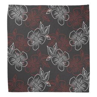 Stilvolles Muster-rote weiße Blumen auf Schwarzem Kopftuch