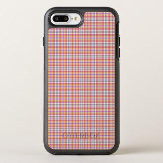 Stilvolles orange kariertes Muster OtterBox Symmetry iPhone 7 Plus Hülle