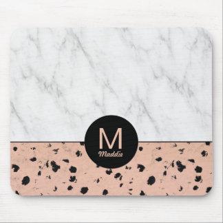 Stilvolles Rosen-Gold-und Marmor-Muster mit Mousepad