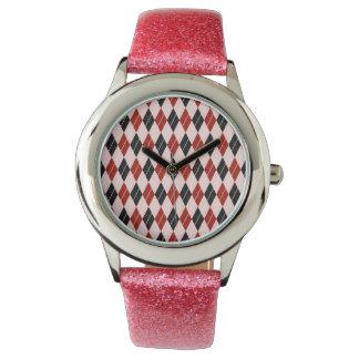 Stilvolles schwarze und rote Rauten-kariertes Armbanduhr