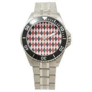 Stilvolles schwarze und rote Rauten-kariertes Uhr