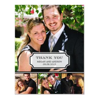 Stilvolles Vorsprungs-Hochzeits-Foto danken Ihnen 10,8 X 14 Cm Einladungskarte