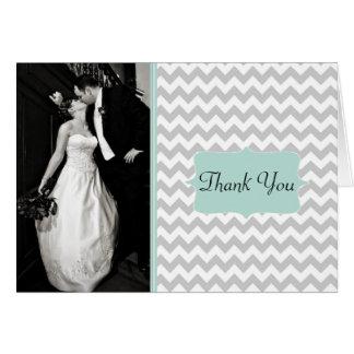 Stilvolles Zickzack Hochzeits-Foto danken Ihnen zu Karte