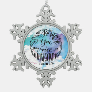 Stimme des Erntedanks ringsum 3 Schneeflocken Zinn-Ornament