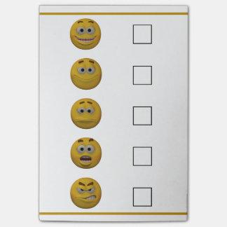 Stimmungs-KaroEmoticon der Art-3d Post-it Haftnotiz