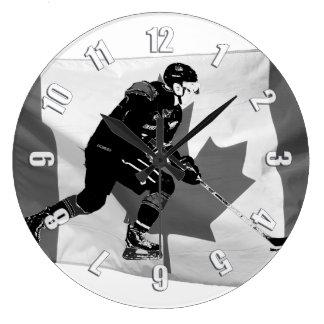 Stock, der Eis-Hockey-Spieler und kanadische Große Wanduhr