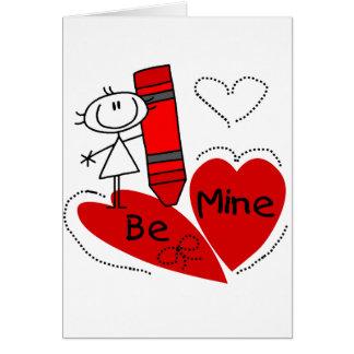Stock-Mädchen ist Bergwerk-Valentinsgruß Karte