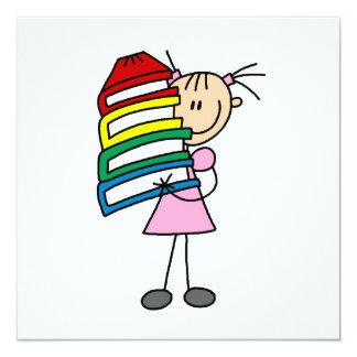 Stock-Mädchen mit Büchern Quadratische 13,3 Cm Einladungskarte