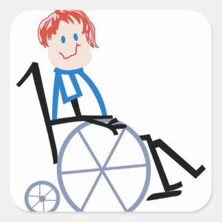Stock-Rollstuhl-Kind Quadrat-Aufkleber