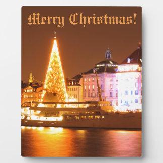 Stockholm, Schweden am Weihnachten nachts Fotoplatte