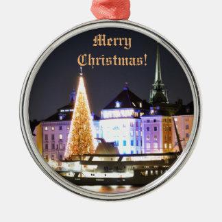 Stockholm, Schweden am Weihnachten nachts Rundes Silberfarbenes Ornament