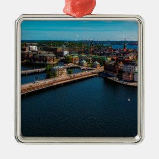 Stockholm-Skyline Quadratisches Silberfarbenes Ornament