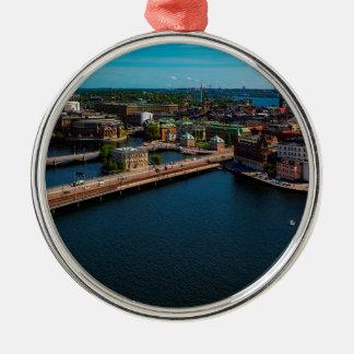 Stockholm-Skyline Rundes Silberfarbenes Ornament