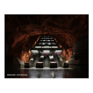 Stockholm-Untergrund I, mit Stations-Text Postkarte