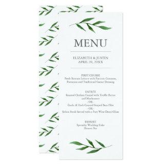 Stoff verlässt elegantes Watercolor-Hochzeits-Menü 10,2 X 23,5 Cm Einladungskarte