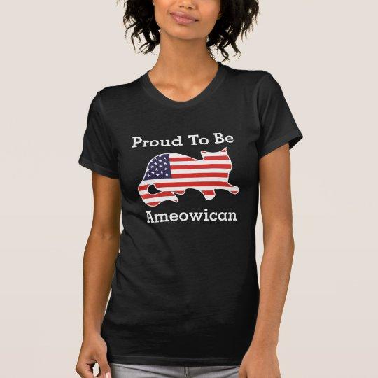 Stolz, Ameowican lustiger patriotischer T - Shirt