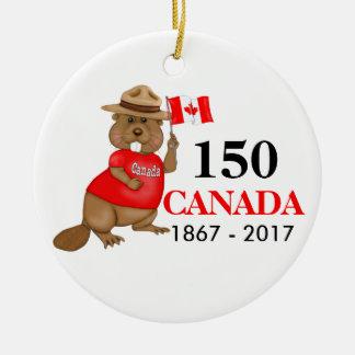 Stolz kanadischer Jahrestag des Biber-150 Rundes Keramik Ornament