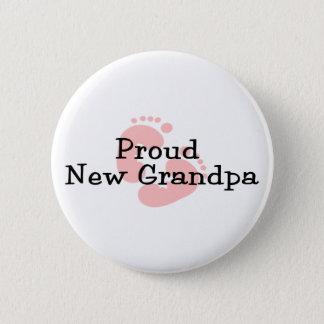 Stolze neue Großvater-Baby-Abdrücke Runder Button 5,7 Cm