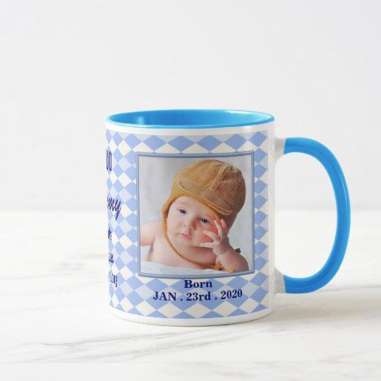 Stolze neue Mama-Baby-Foto-Tasse - blaue Raute Tasse