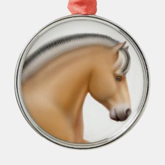 Stolze norwegische Fjord-Pferdeverzierung Silbernes Ornament